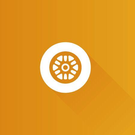 aluminium: Car tire icon in Metro user interface color style. Transportation vehicle wheel