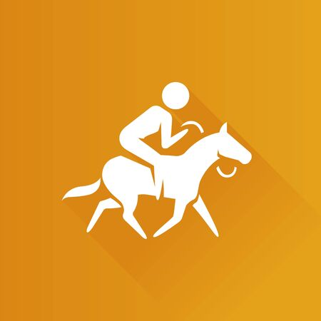Horse riding icon in Metro user interface color style. Sport championship race
