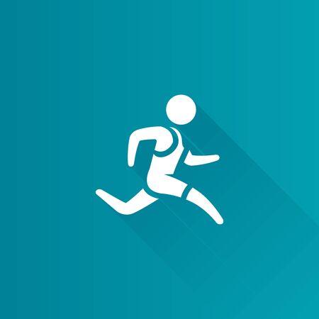 jog: Running athlete icon in Metro user interface color style. Marathon triathlon sport