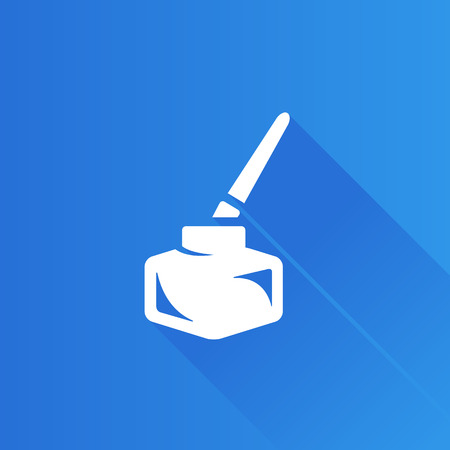 communication icons: Ink pot icon with brush in Metro user interface color style. Illustration
