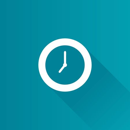 Clock icon in Metro user interface color style. Alarm wall time