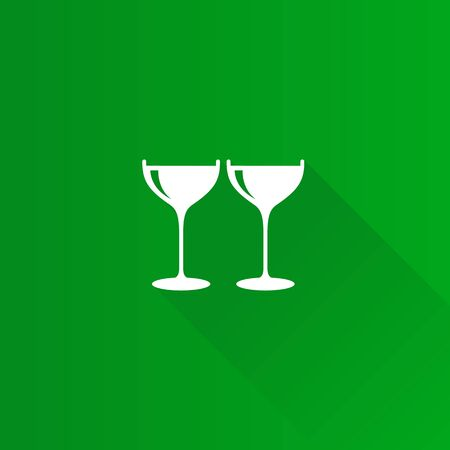 Wine glass icon in Metro user interface color style. Celebration couple drinking
