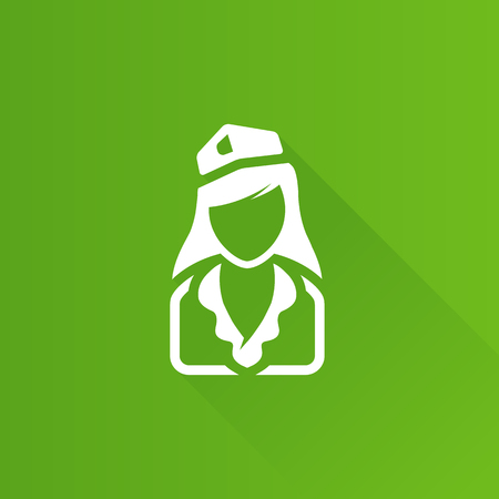 woman on phone: Stewardess avatar icon in Metro user interface color style. Transportation flight attendant