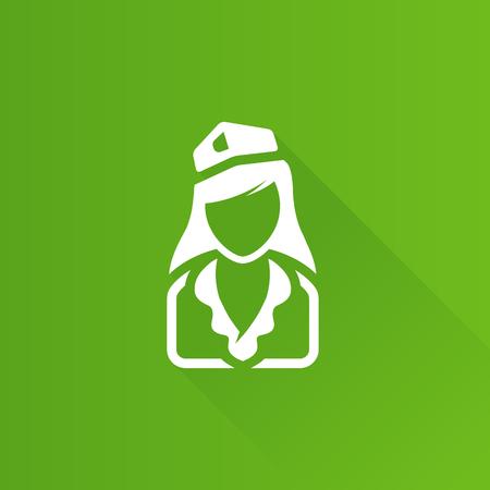 Stewardess avatar icon in Metro user interface color style. Transportation flight attendant