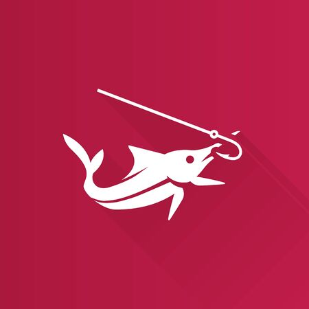 shadow: Fish icon in Metro user interface color style. Sport fishing marlin sailfish Illustration