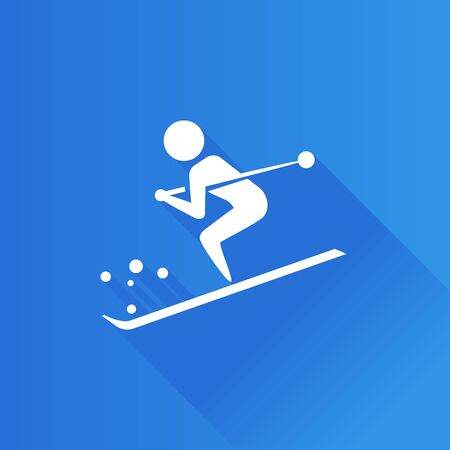 Ski icon in Metro user interface color style. Winter sport, mountain
