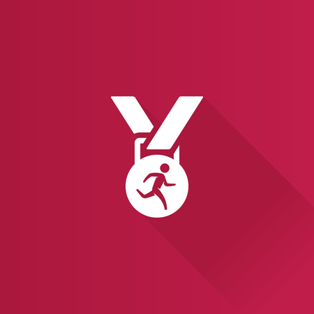 finisher: Athletic medal icon in Metro user interface color style. Sport triathlon marathon