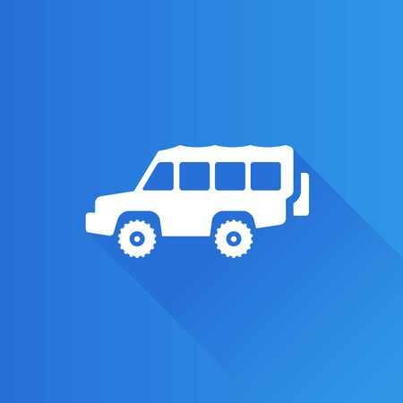 engine: Offroad car icon in Metro user interface color style. Truck double cabin explore