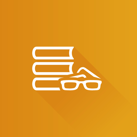wiki: Books and glasses icon in Metro user interface color style. Education student library