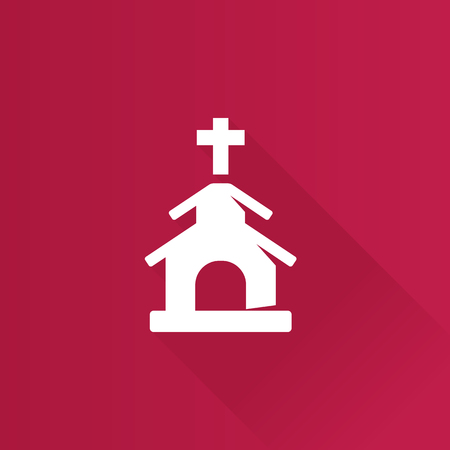 Church icon in Metro user interface color style. Christian chapel synagogue Illustration