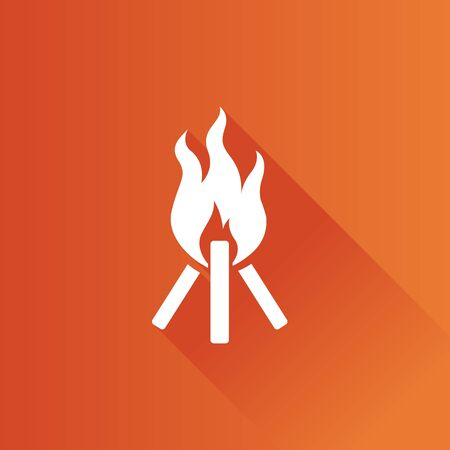 Camp fire icon in Metro user interface color style. Camping burn wild fire