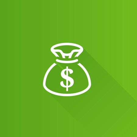 Money sack icon in Metro user interface color style. Finance wealth banking