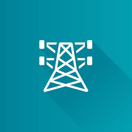 Pylon icon in Metro user interface color style. Electricity high voltage