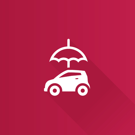Car and umbrella icon in Metro user interface color style. Insurance protection Illustration