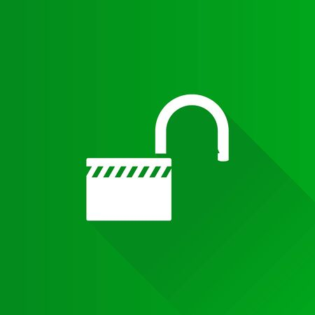 Padlock unlocked icon in Metro user interface color style. Safety protection
