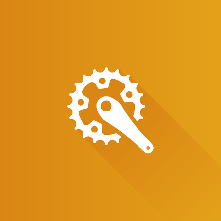 telephone: Bicycle crank set icon in Metro user interface color style. Bicycle cycling rotor Illustration
