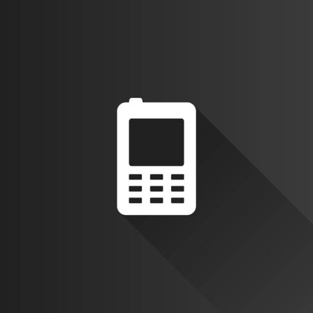 display: Cell phone icon in Metro user interface color style. Vintage communication device Illustration