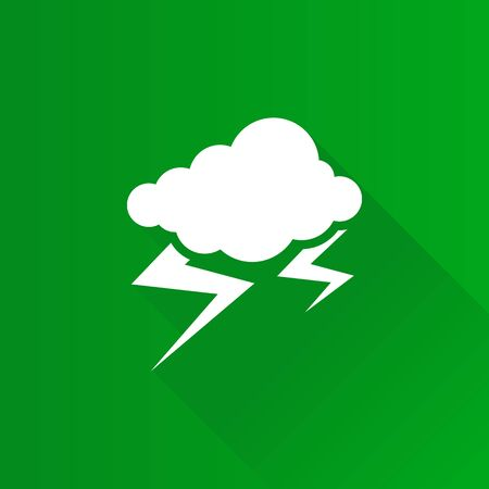Weather overcast storm icon in Metro user interface color style. Nature forecast thunder