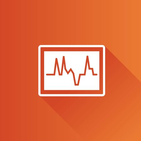 telephone: Heart rate monitor icon in Metro user interface color style. Medical health care digital Illustration