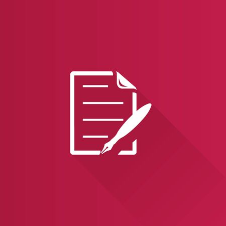 shadow: Contract document icon in Metro user interface color style. Agreement arrangement loan