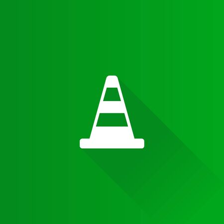 mobile phone icon: Traffic cone icon in Metro user interface color style. Road construction warning