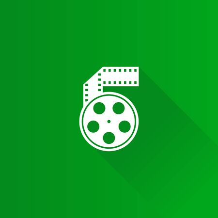 Cinema movie reel icon in Metro user interface color style.