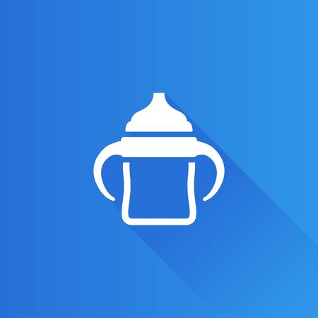 Milk bottle icon in Metro user interface color style. Baby toddler pacifier