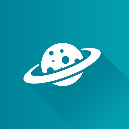 Planet Saturn icon in Metro user interface color style. Plasma belt satellite