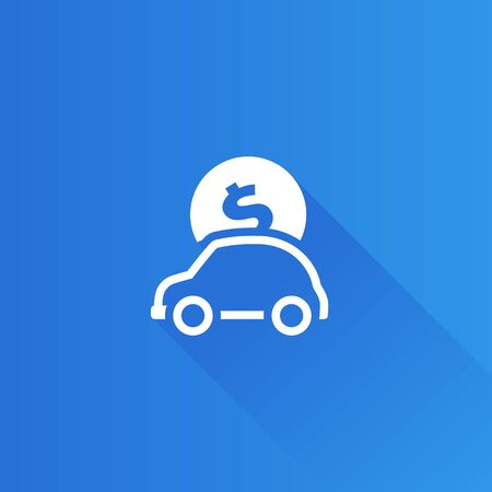 Car piggy bank icon in Metro user interface color style. Saving banking automotive