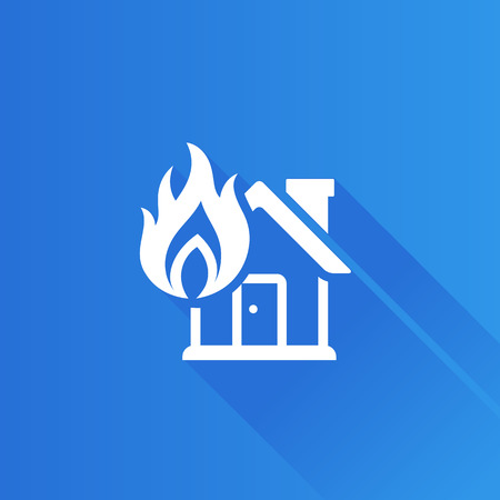 mobile: House fire icon in Metro user interface color style. Nature disaster accident Illustration