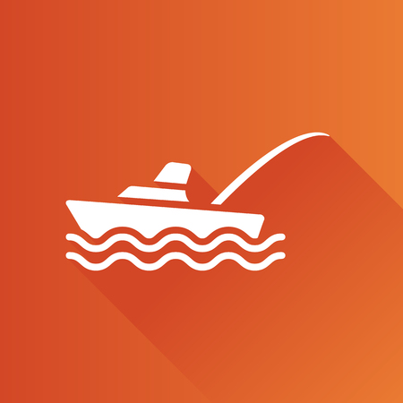 river: Fishing boat icon in Metro user interface color style. Sport recreation ship transport