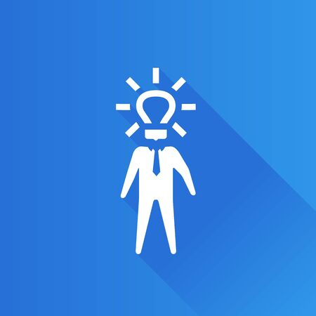 mobile: Light bulb head icon in Metro user interface color style. Businessman idea solution