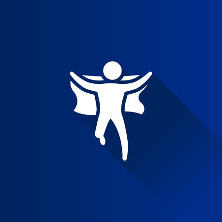 Wining sprinter icon in Metro user interface color style. Runner holding nation flag