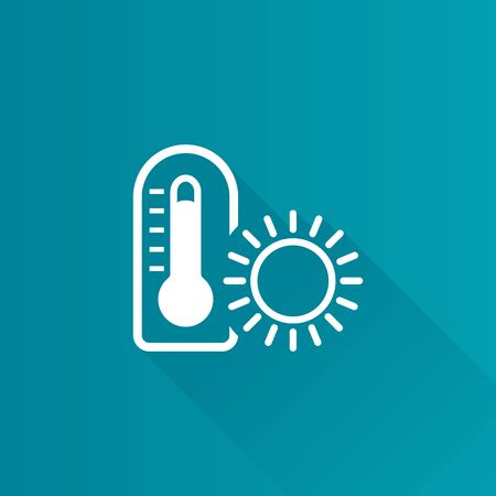 shadow: Thermometer icon in Metro user interface color style. nature temperature hot humid