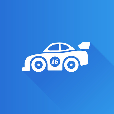 Race car icon in Metro user interface color style. Sport automotive rally Illustration