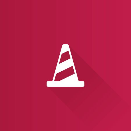 alerts: Traffic cone icon in Metro user interface color style. Road construction warning