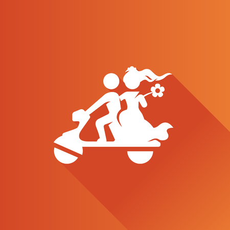romance: Wedding scooter icon in Metro user interface color style. Newlywed riding scooter motor Illustration