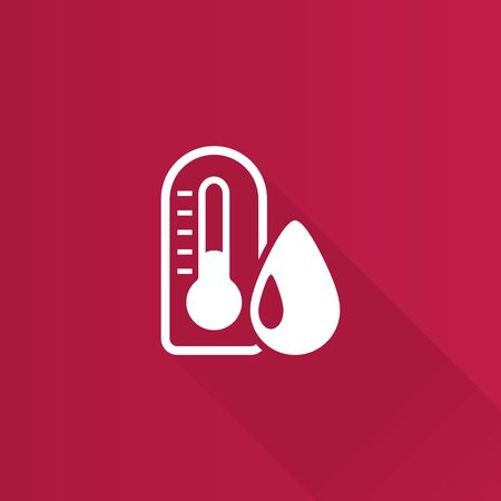 humidity: Thermometer icon in Metro user interface color style. nature temperature hot humid