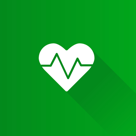 Heart rate icon in Metro user interface color style. Human pulse graph