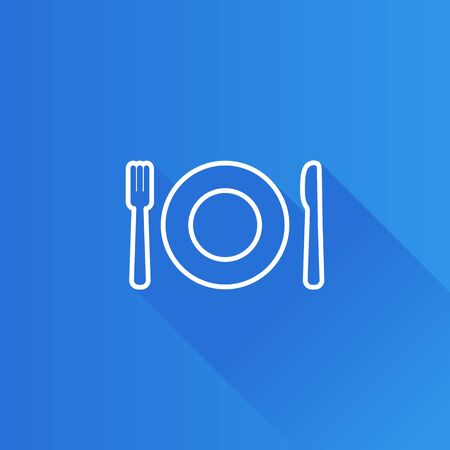 shadow: Dishes icon in Metro user interface color style. Spoon fork dinner breakfast Illustration