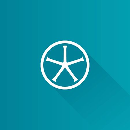 Bicycle wheel icon in Metro user interface color style. Sport cycling race track tubular Illustration