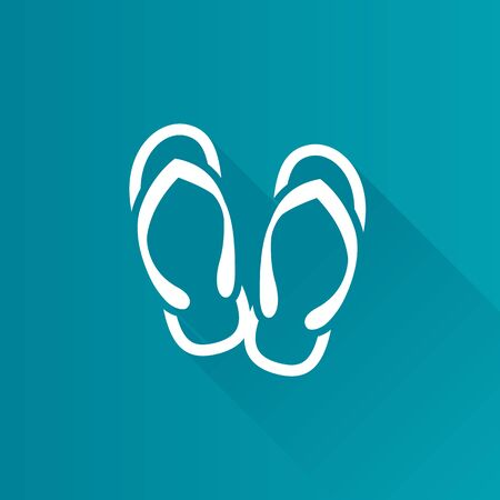 flat foot: Slipper sandal icon in Metro user interface color style. Beach wear Illustration