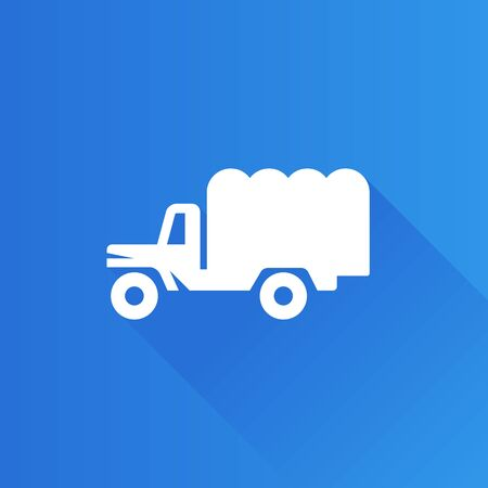 soldiers: Military truck icon in Metro user interface color style. Vintage logistic transportation