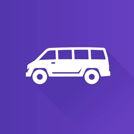 shadow: Car icon in Metro user interface color style. Van delivery bus