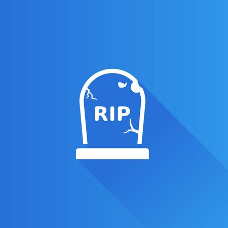 shadow: Tomb stone icon in Metro user interface color style. Monument dead Halloween spooky