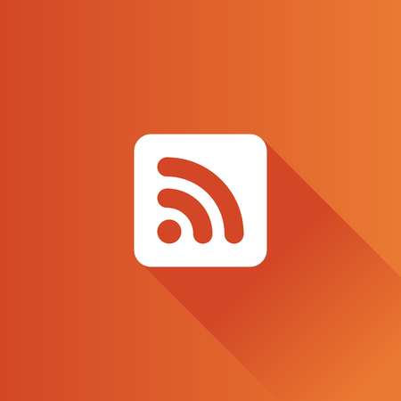 syndication: Cup icon with RSS symbol in Metro user interface color style.  Reader feed syndication
