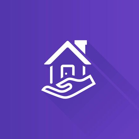 security: Property care icon in Metro user interface color style. House human hand palm Illustration