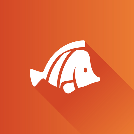 Fish icon in Metro user interface color style. Sea animal pet