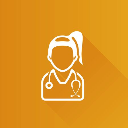 Woman doctor icon in Metro user interface color style. Medical healthcare stethoscope Illustration