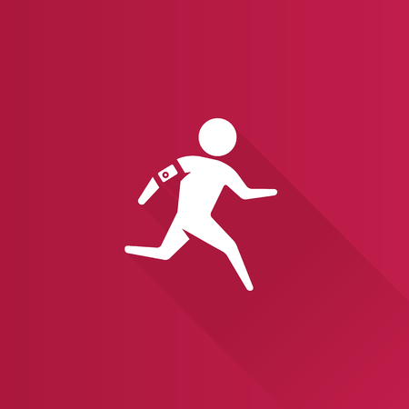 smart: Running athlete icon in Metro user interface color style. Marathon triathlon sport